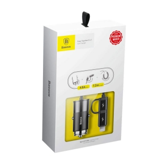 Baseus Car Charger Enjoy Together 2-in-1 Lightning and Type-C Black